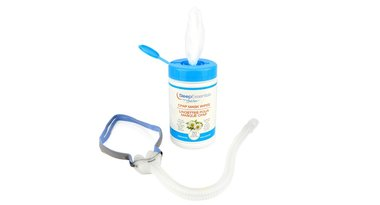 Sleep Essentials CPAP wipes by VitalAire, and other accessories