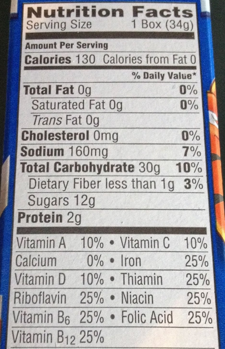 Frosted Flakes nutrition label close up